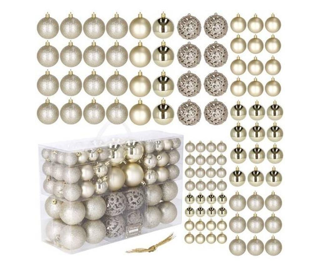 Set 100 Globuri De Craciun, Diverse Forme Si Marimi, Auriu