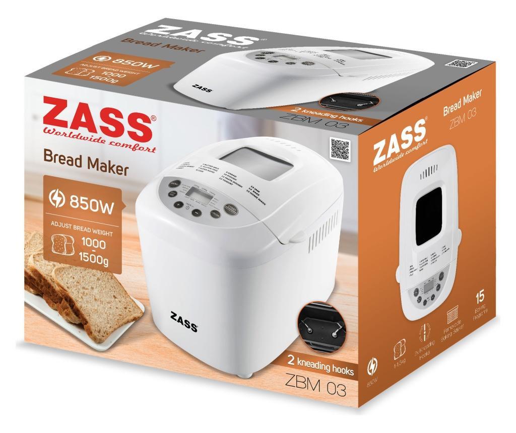 Masina de facut paine Zass ZBM 03, 15 programe coacere si framantare, (1000 - 1250 - 1500 g)