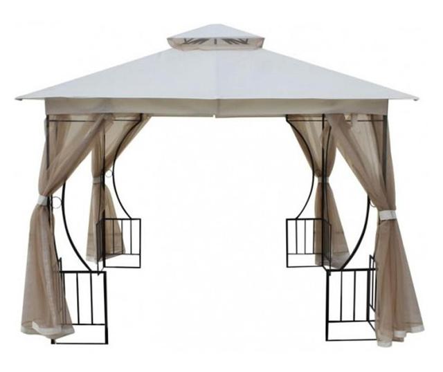 RAKI Pavilion, cort gradina 3x3m cadru metalic, bej cu plasa antitantari