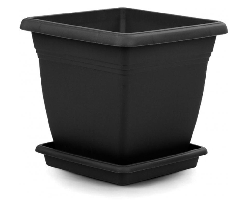 SERINOVA VILA Ghiveci patrat pentru flori 50x50xh46,5cm 64l culoare neagra