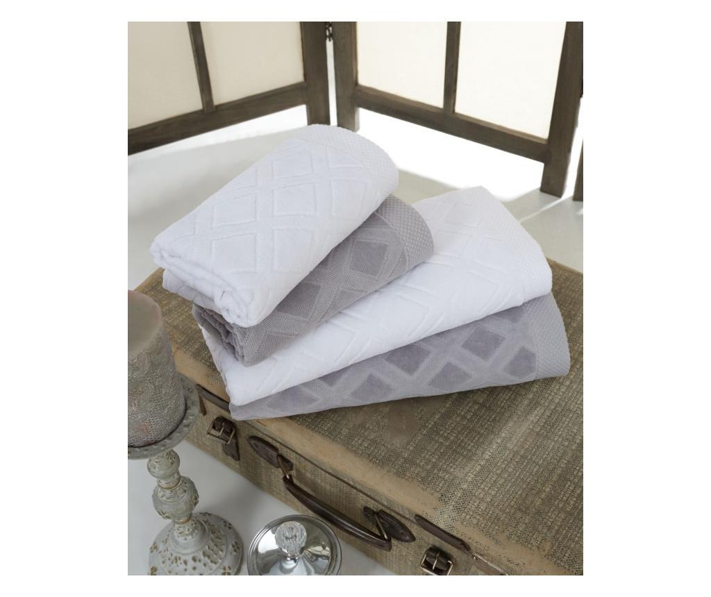 Zestaw 4 ręczników kąpielowych Jacquard Grey & White