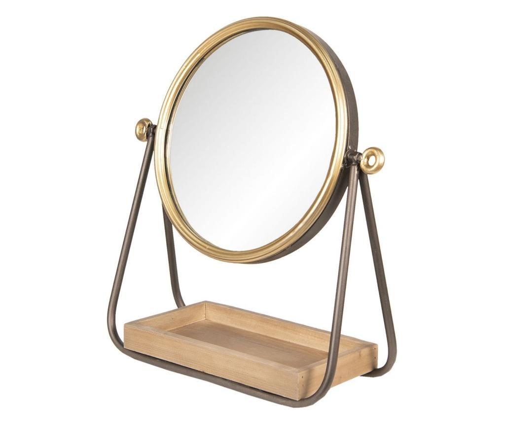 Oglinda de masa cu rama din metal auriu maro si tava din lemn natur 40x14x42 cm