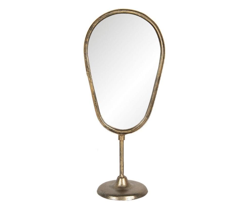 Oglinda de masa cu picior si rama fier negru cu patina aurie 18x12x41 cm