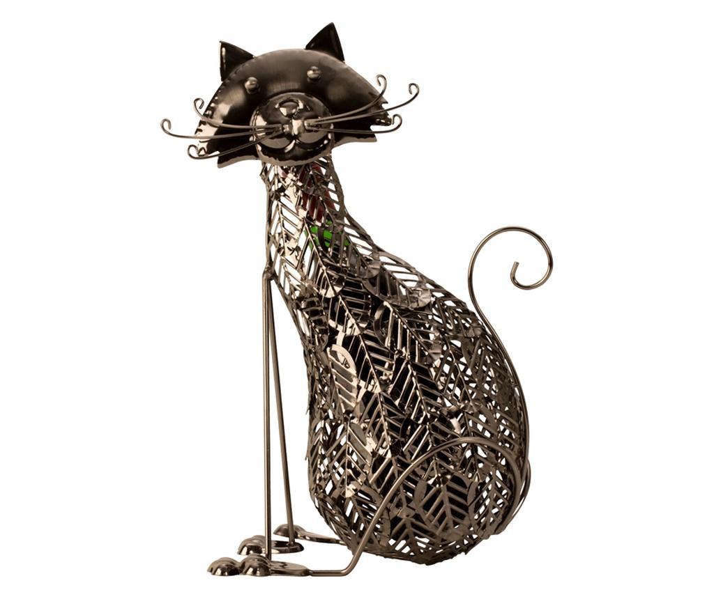 Suport Sticla de Vin, din Metal, model Pisica, 41 cm
