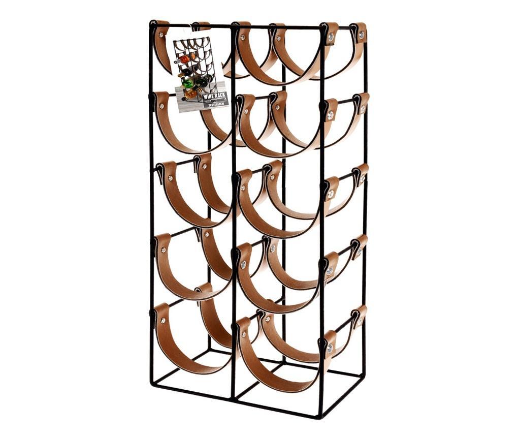Suport din metal si piele pentru 10 sticle vin 24x16x60cm