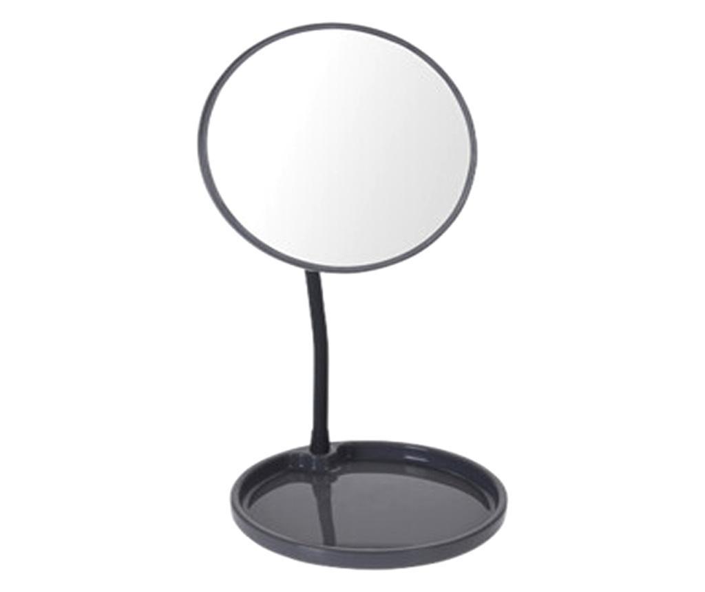 Oglinda cosmetica pe picior, inaltime 29 cm, oglinda si baza de diametru 14 cm, material silicon , metal, culoare gri