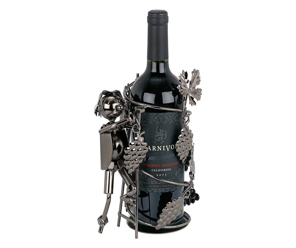 Suport pentru sticla vin din metal culegator struguri h21cm