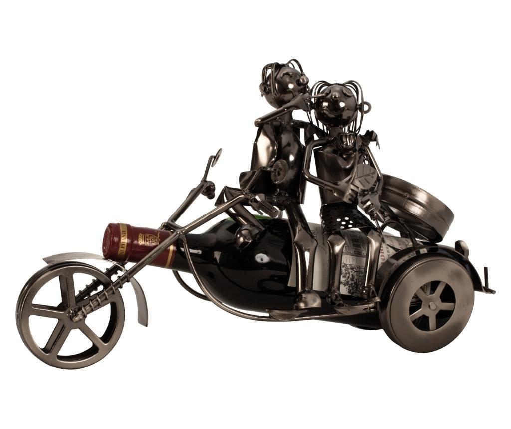 Suport sticla vin din metal, model cuplu pe motor 20 x37 cm