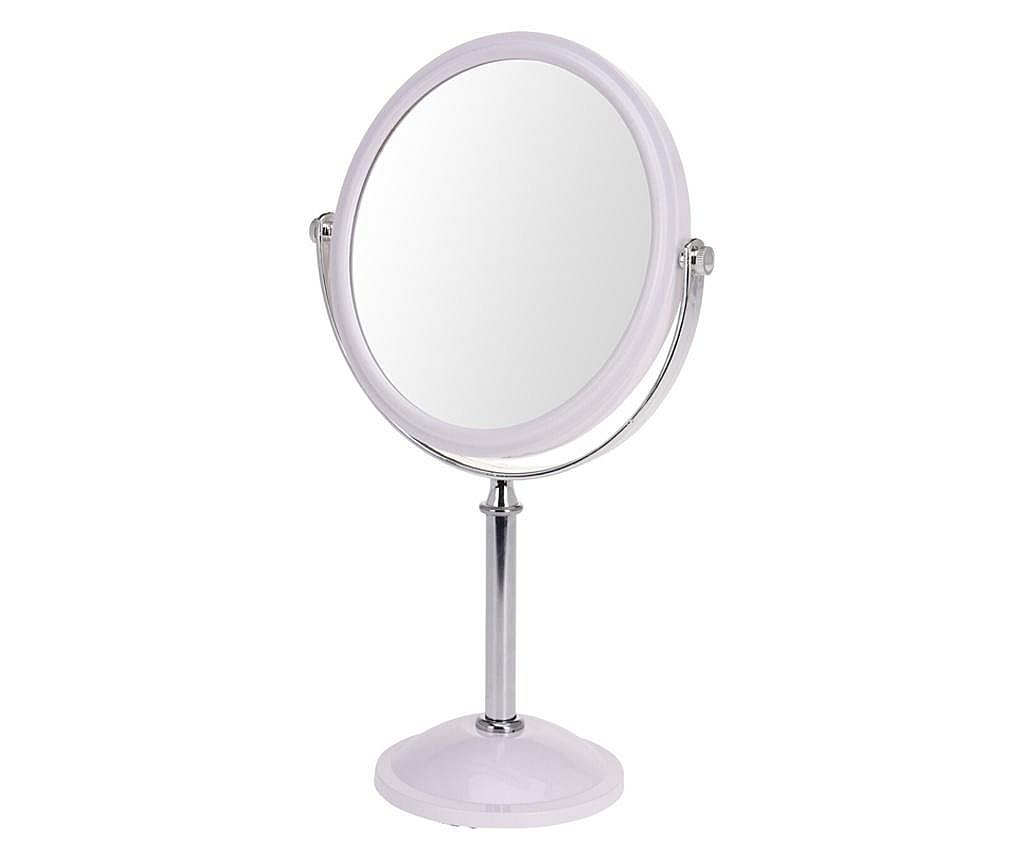 Oglinda cosmetica fata dubla, o fata marire x2, rama plastic, culoare argintiu