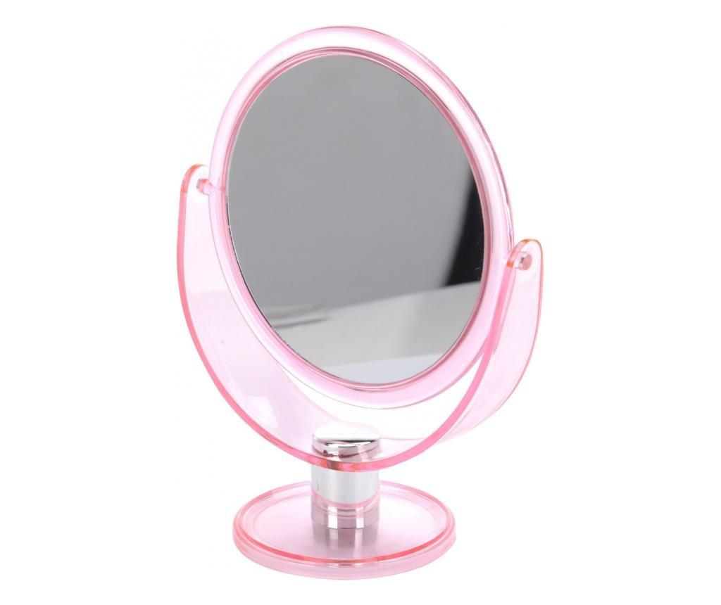 Oglinda machiaj cu 2 fete, 1 cu marire x2, Dim 18.5x24cm, rama plastic roz transparent