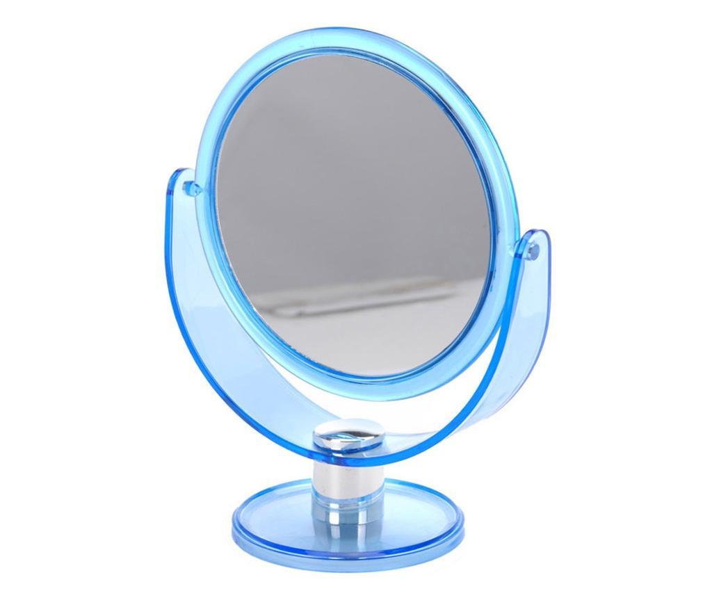 Oglinda machiaj cu 2 fete, 1 cu marire x2, Dim 18.5x24cm, rama plastic bleu transparent
