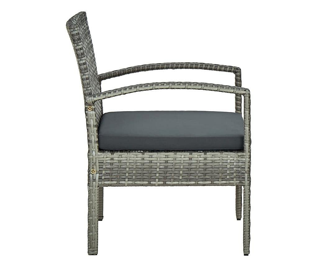 Krzesło ogrodowe z poduszką, polirattan, szare