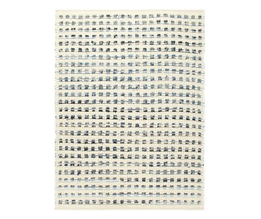 Dywan, dżins i wełna, 80 x 150 cm, niebieski/biały