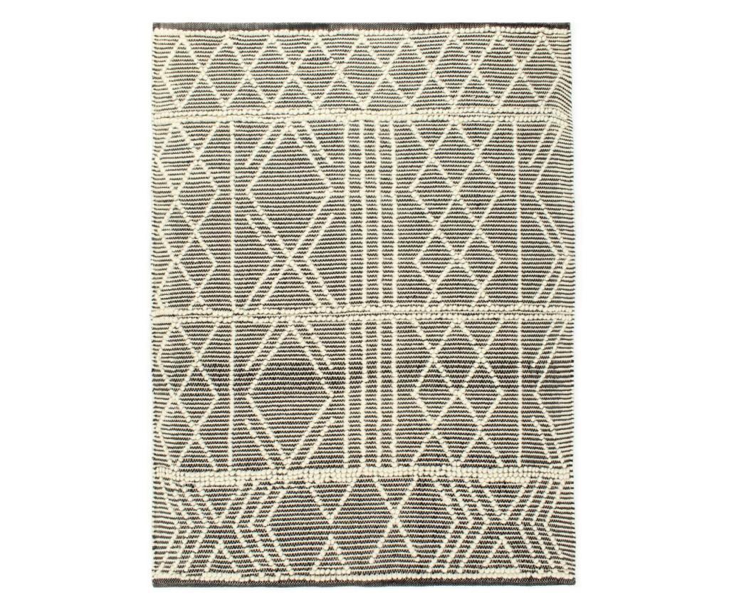 Dywan ręcznie tkany, wełna, 80x150 cm, czarny/biały
