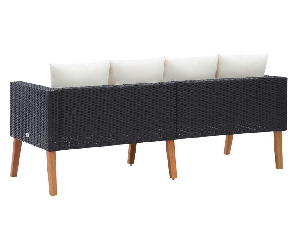 Canapea de gradina cu 2 locuri, cu perne, negru, poliratan