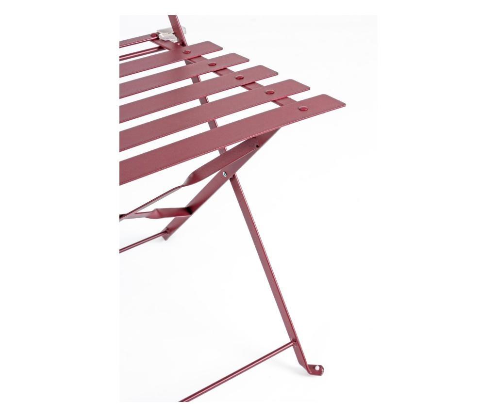 Set masa de gradina cu 2 scaune pliabile Wissant Scarlet