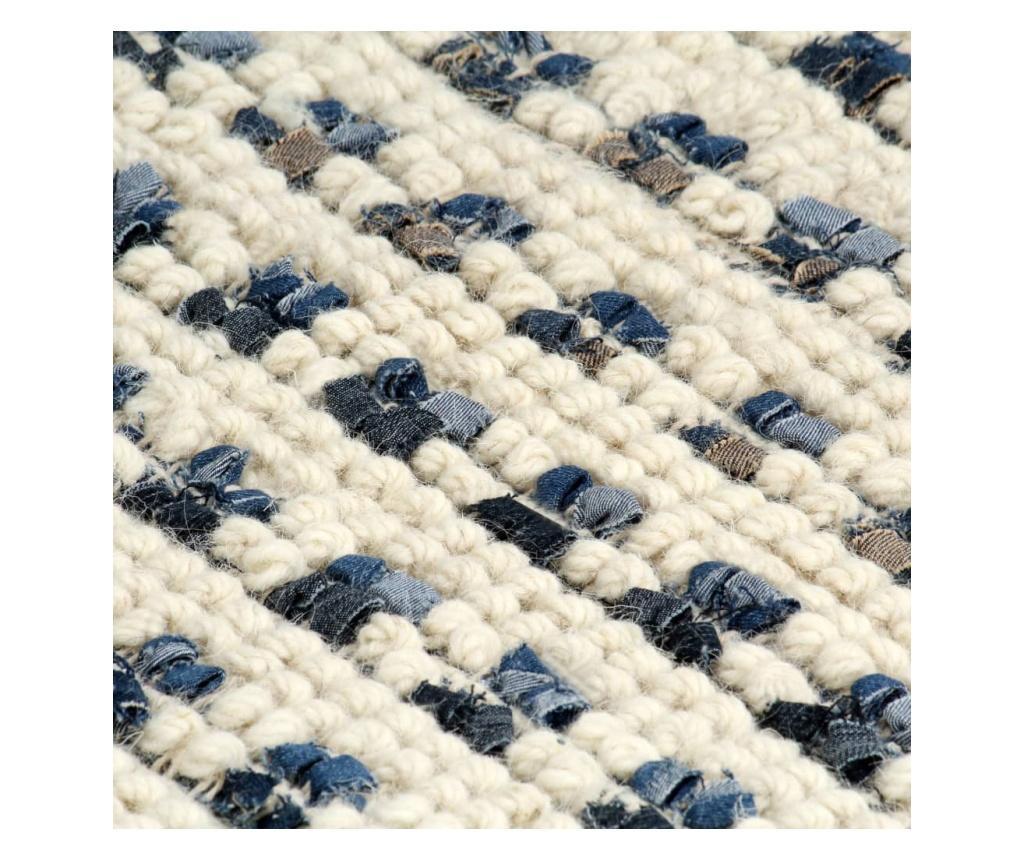 Dywan, dżins i wełna, 140 x 200 cm, niebieski/biały