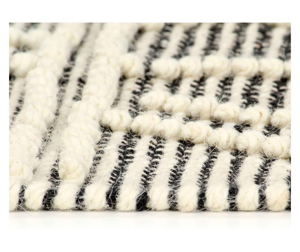 Dywan ręcznie tkany, wełna, 120x170 cm, czarny/biały