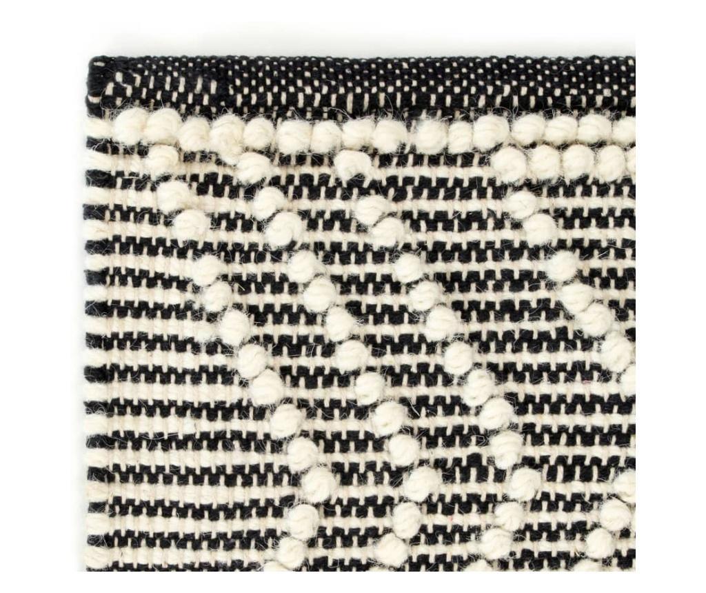 Dywan ręcznie tkany, wełna, 140x200 cm, czarny/biały