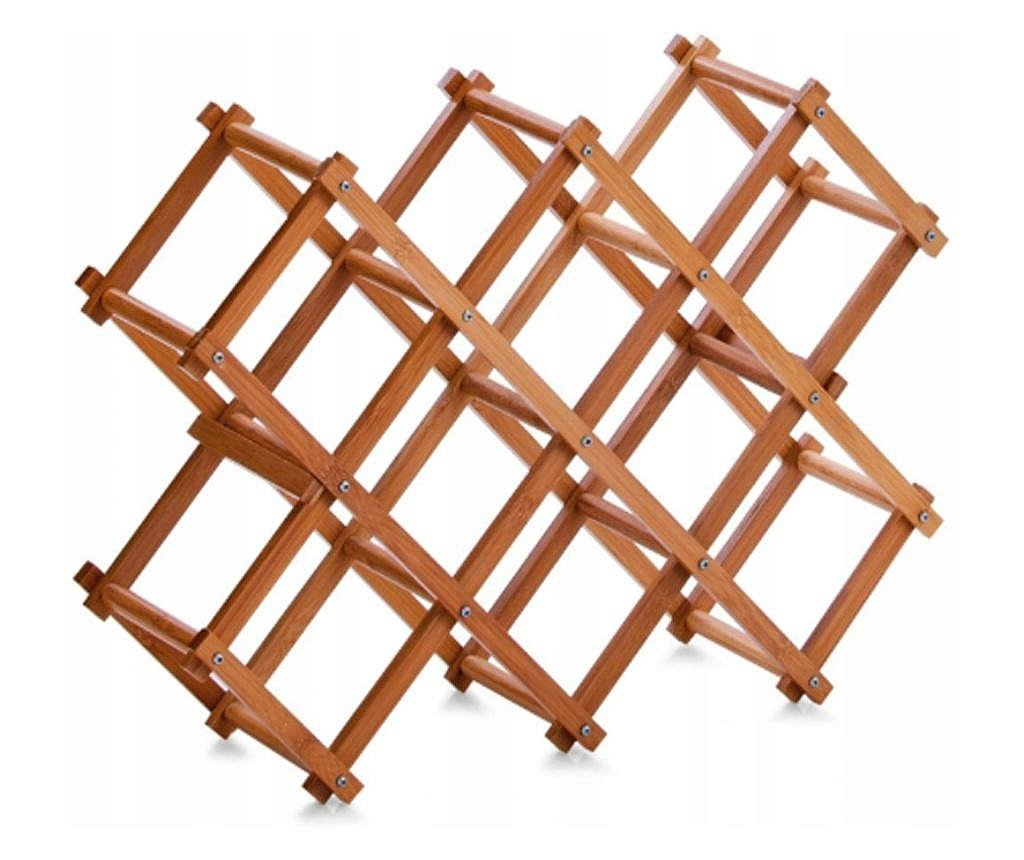 Suport 10 sticle vin Zeller, bambus, 54x14.5x38 cm, maro