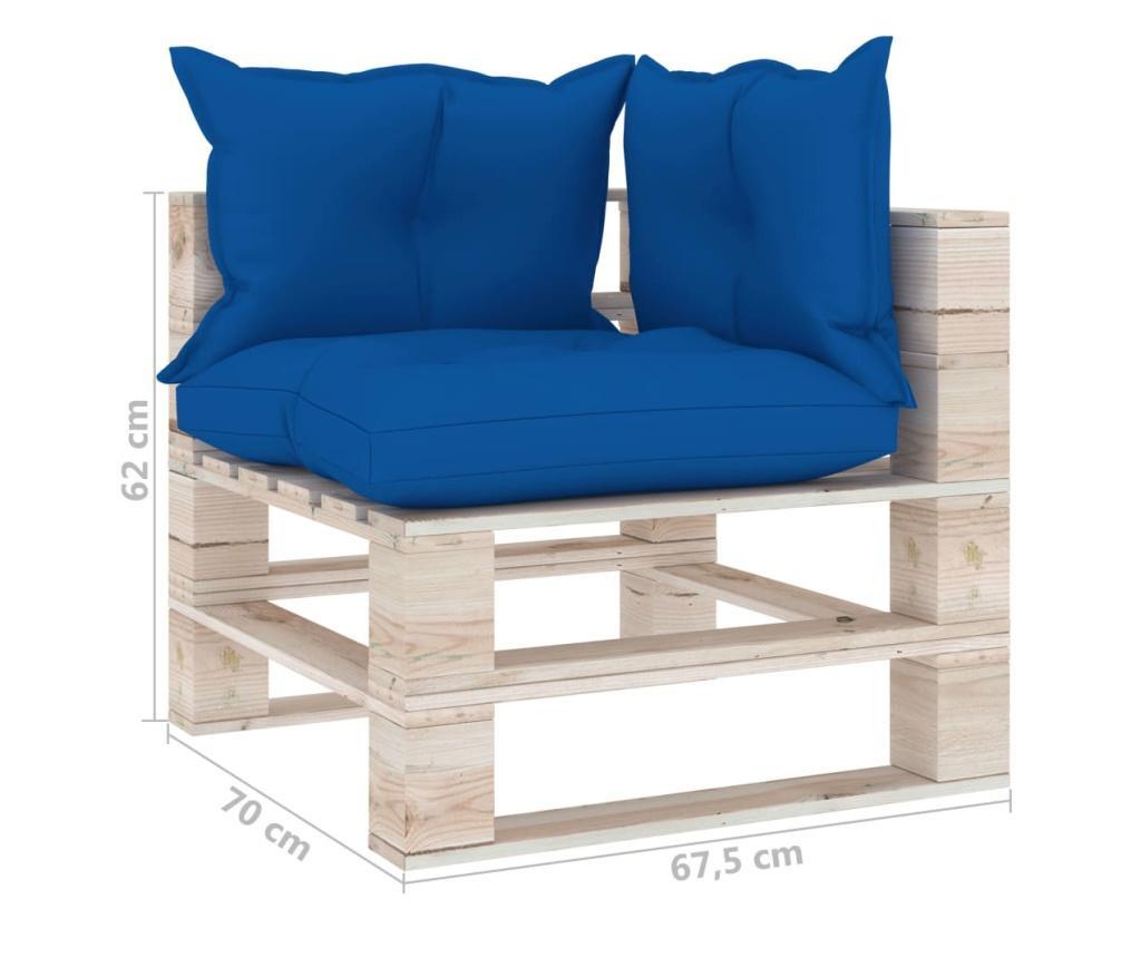 Canapea de gradina din paleti, 2 locuri, cu perne, lemn de pin