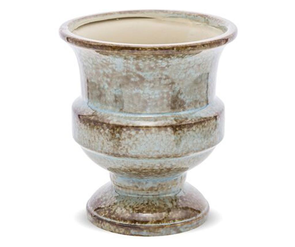 Ghiveci ceramica, albastru/maro, 17x15x15 cm