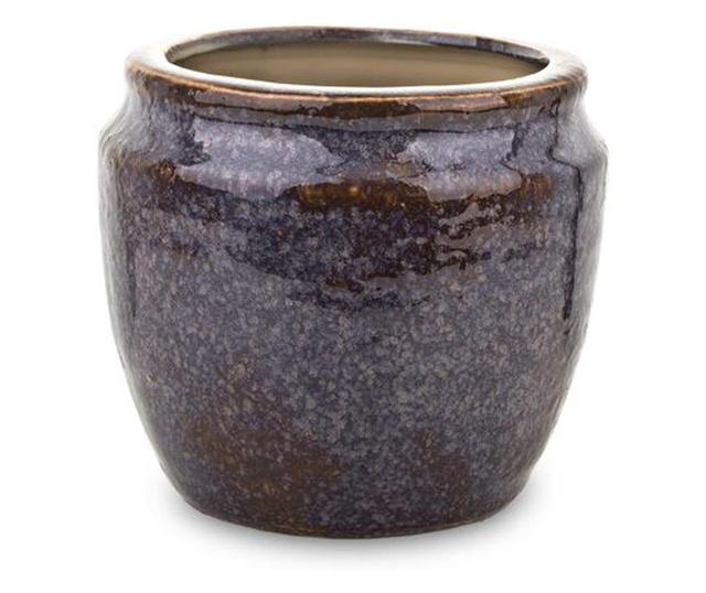 Ghiveci ceramica, mov/maro, 13,5x15x15 cm