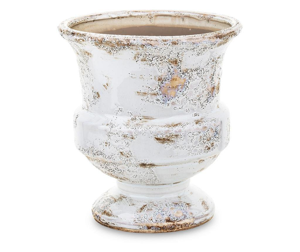 Ghiveci ceramica, crem antichizat, 20x18,5 cm