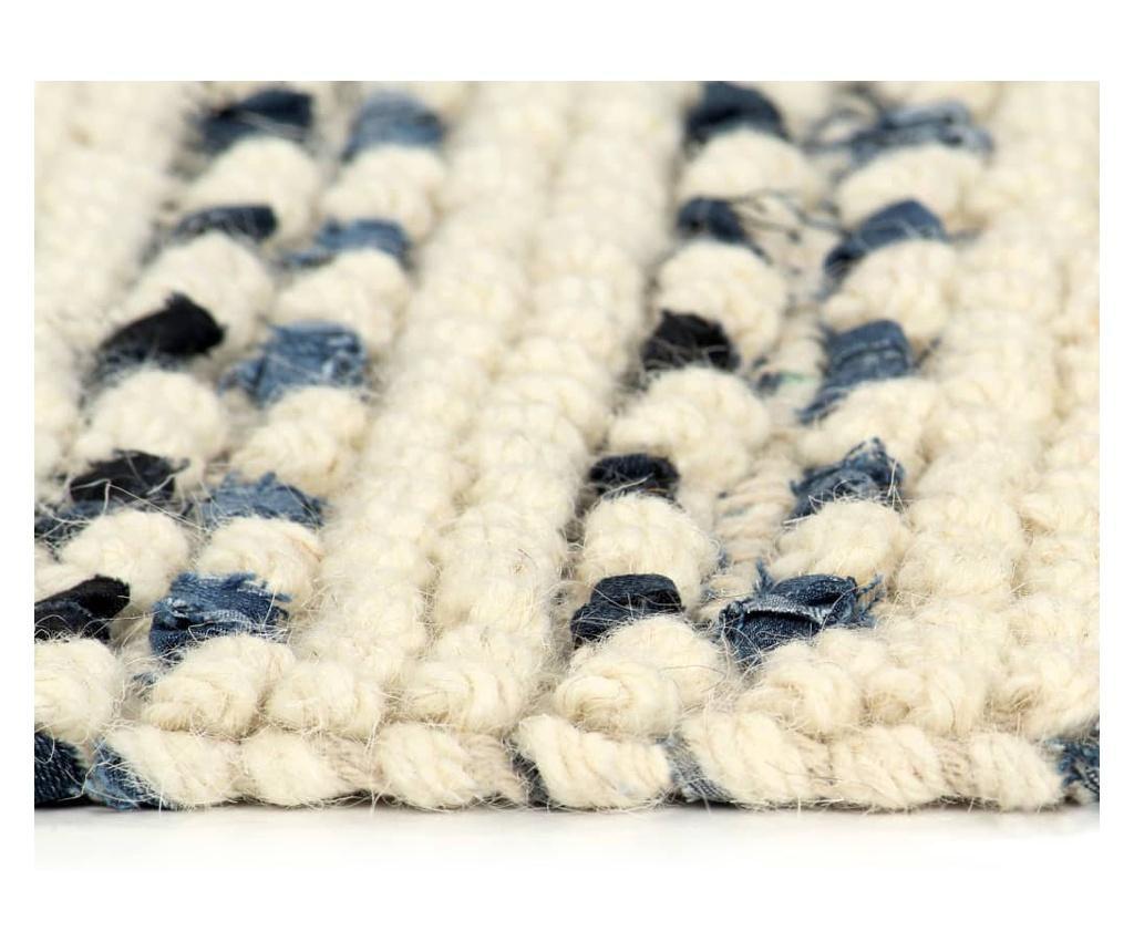 Dywan, dżins i wełna, 160 x 230 cm, niebieski/biały