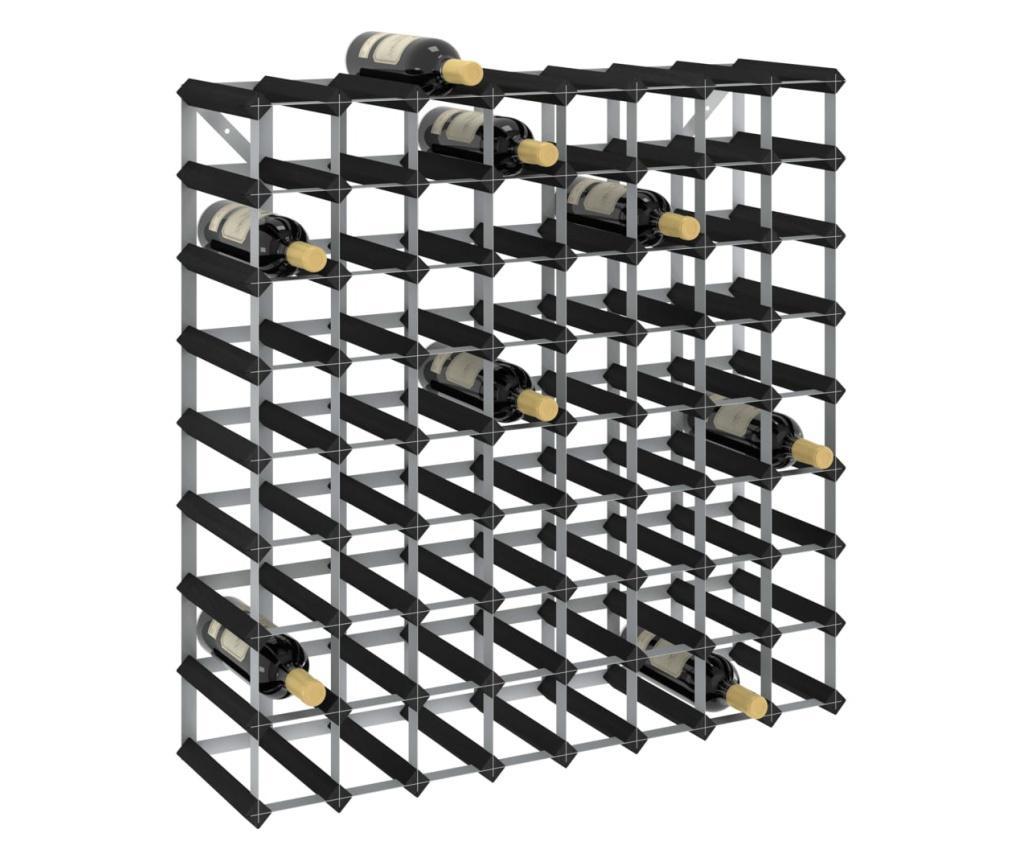 Suport de vinuri, 72 sticle, negru, lemn masiv de pin