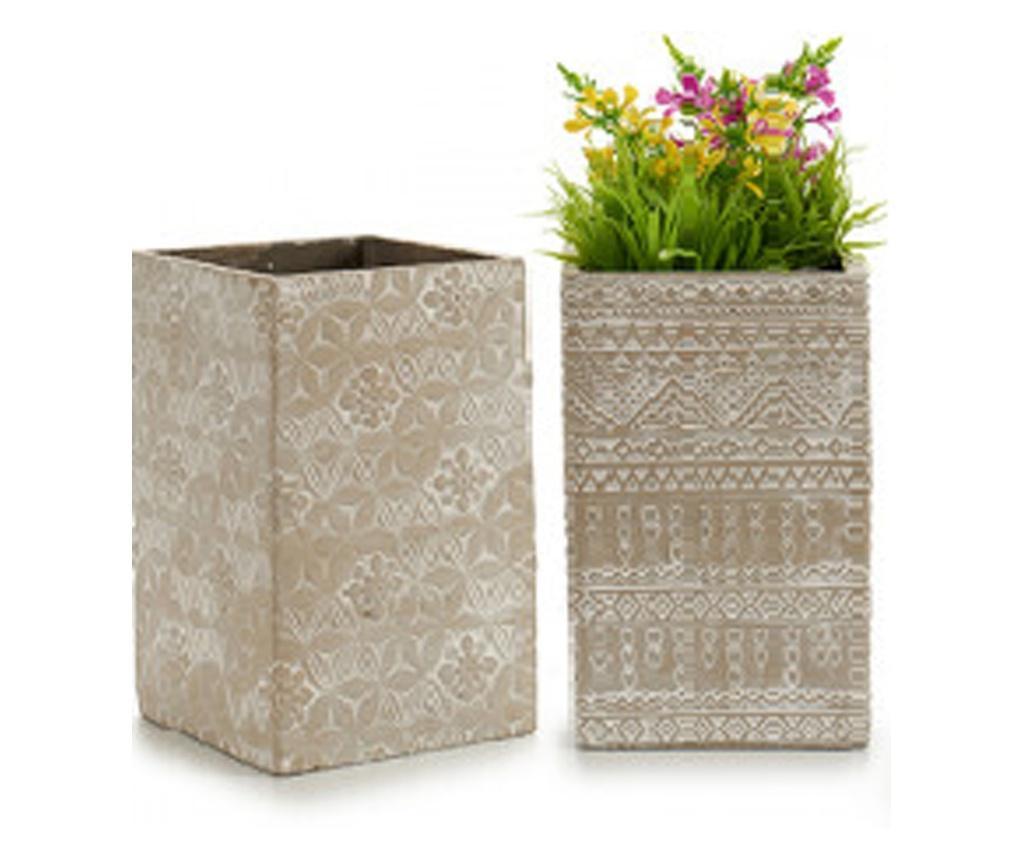 Ghiveci din ciment pentru flori, 25 x 15 x 15 cm, Ibergarden