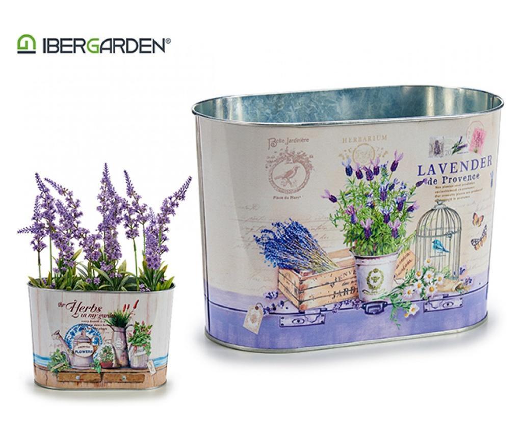 Ghiveci din metal pentru flori, 15 x 12.5 x 24 cm, cilindric, Ibergarden
