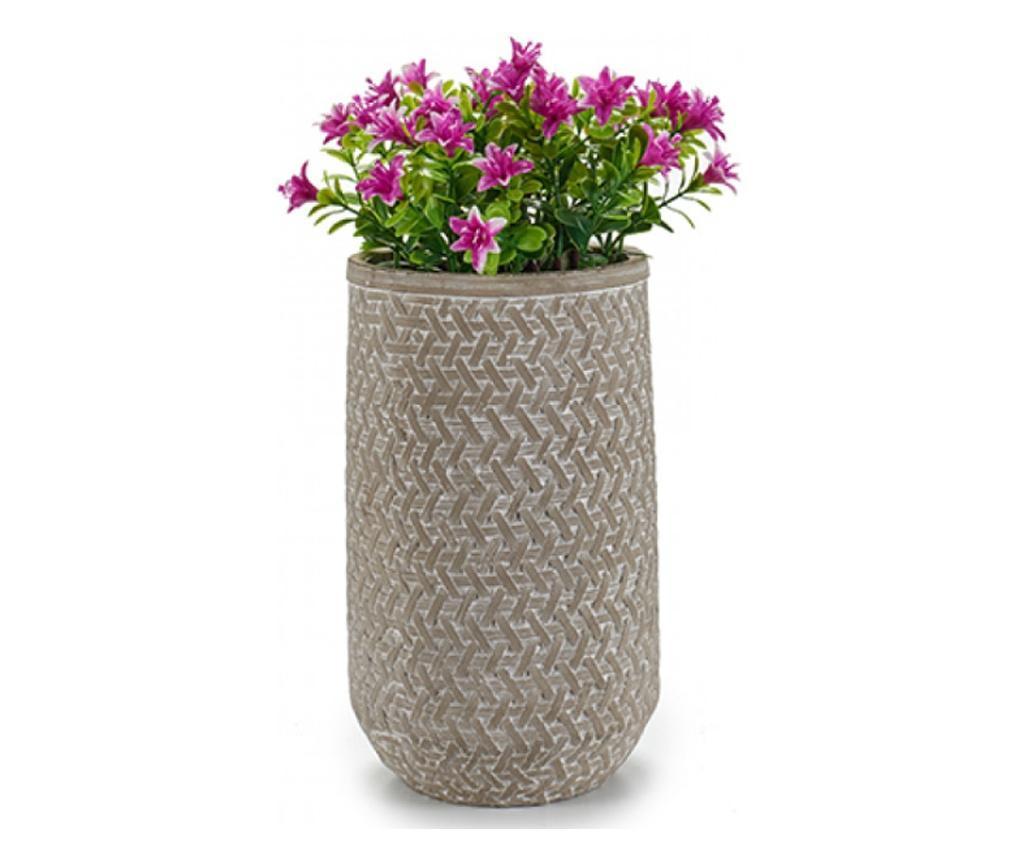 Ghiveci din ciment pentru flori, 25 x 15 x 15 cm, cilindric, Ibergarden