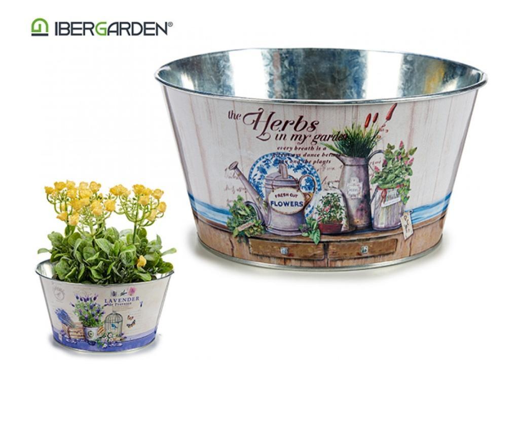Ghiveci din metal pentru flori, 10 x 21 x 21 cm, cilindric, Ibergarden