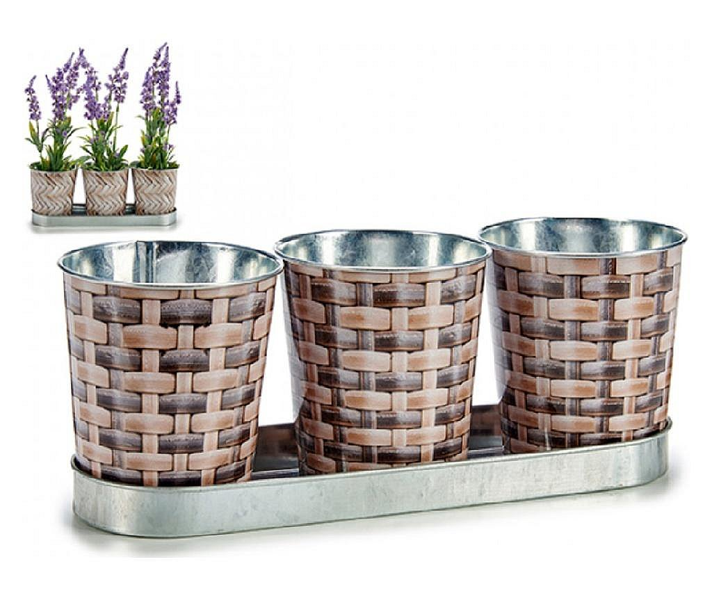 Set 3 ghivece din metal pentru flori, 10 x 10 x 30 cm, Ibergarden