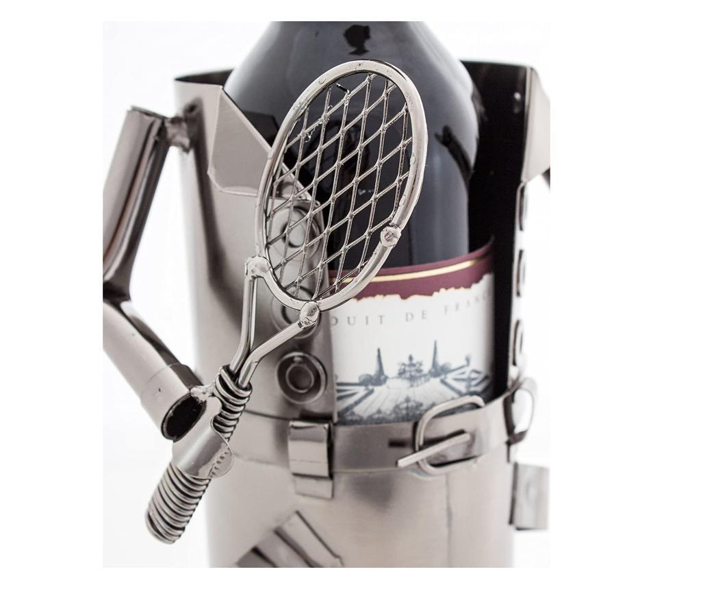 Suport metal pentru Sticla Vin, Tenismen, Argintiu, H32 cm