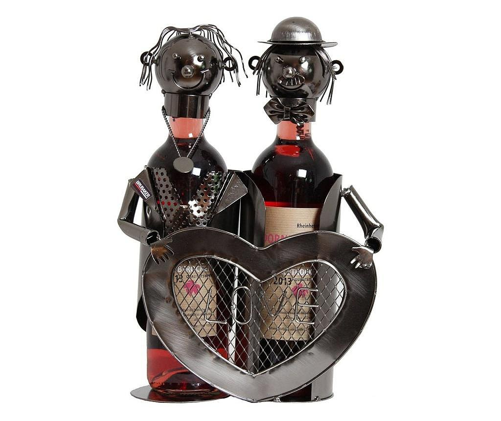 Suport modern de Sticle Vin, cuplu de indragostiti, cu inima LOVE, Metal Lucios, Maro/Negru, capacitate 2 Sticla, H 32 cm, I 24