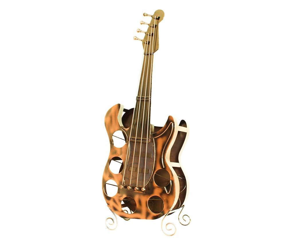 Suport din metal pentru 6 sticle de vin, forma chitara, dimensiune 107 cm
