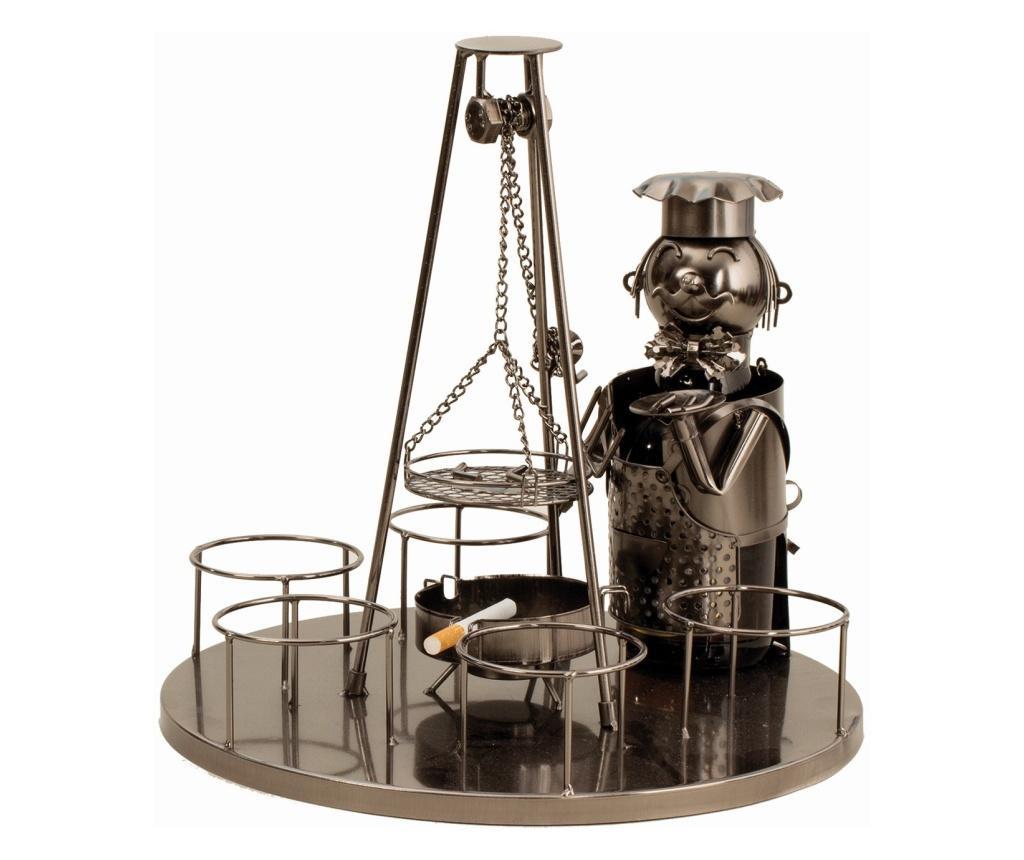 Suport metal 6 sticle pe tava cu scrumiera, diametru 30 cm