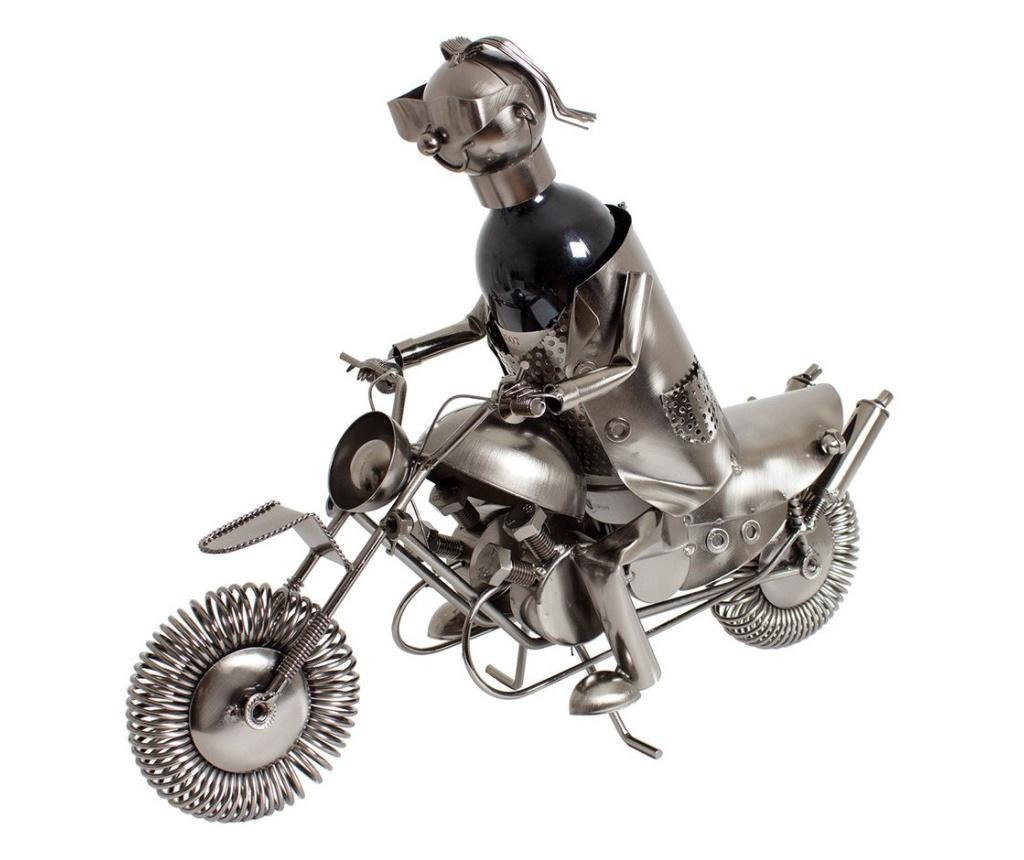 Suport metal pentru sticla vin model motociclist 36x 47 cm