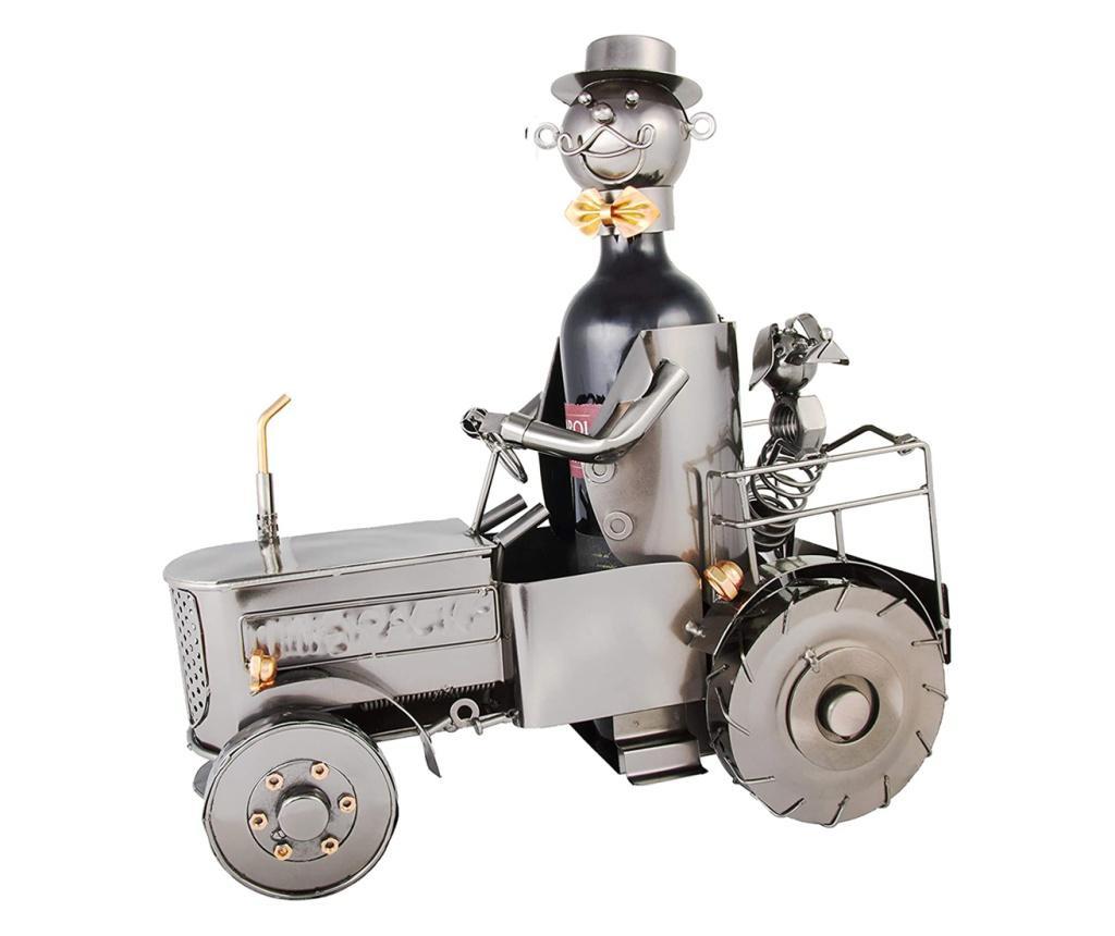 Suport metal pentru sticla vin, tractorist cu catel pe tractor 35,5x34 cm
