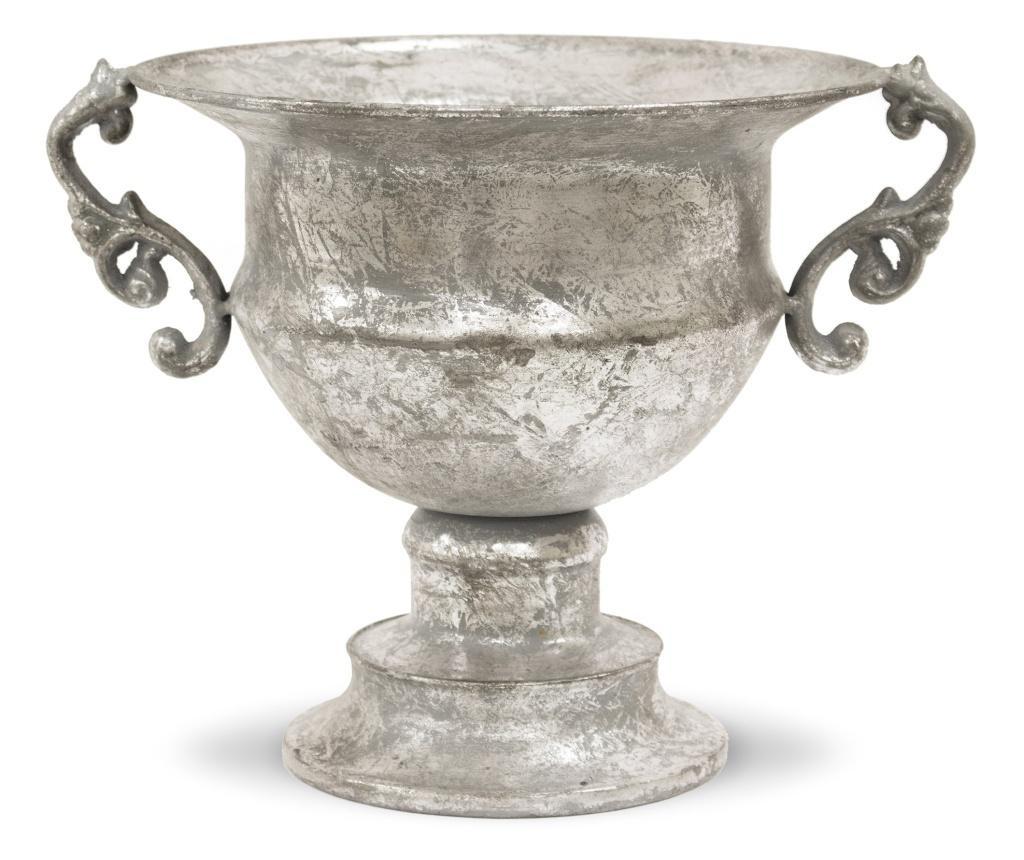 Amfora metalica cu manere, gri antichizat, 21x27,5x22,5 cm