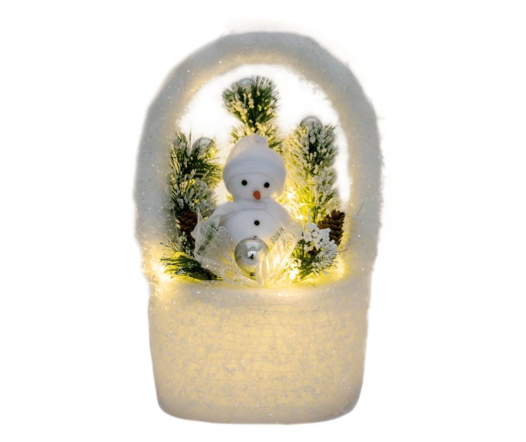 Decoratiune Craciun Om de Zapada, cu 10 LED-uri, 23x20x40 cm, Alb