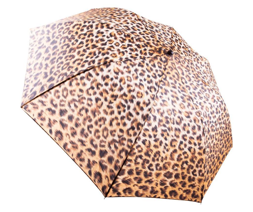 Umbrela manuala pliabila cu husa asortata Getrain, Ø90 cm, imprimeu leopard, Multicolor
