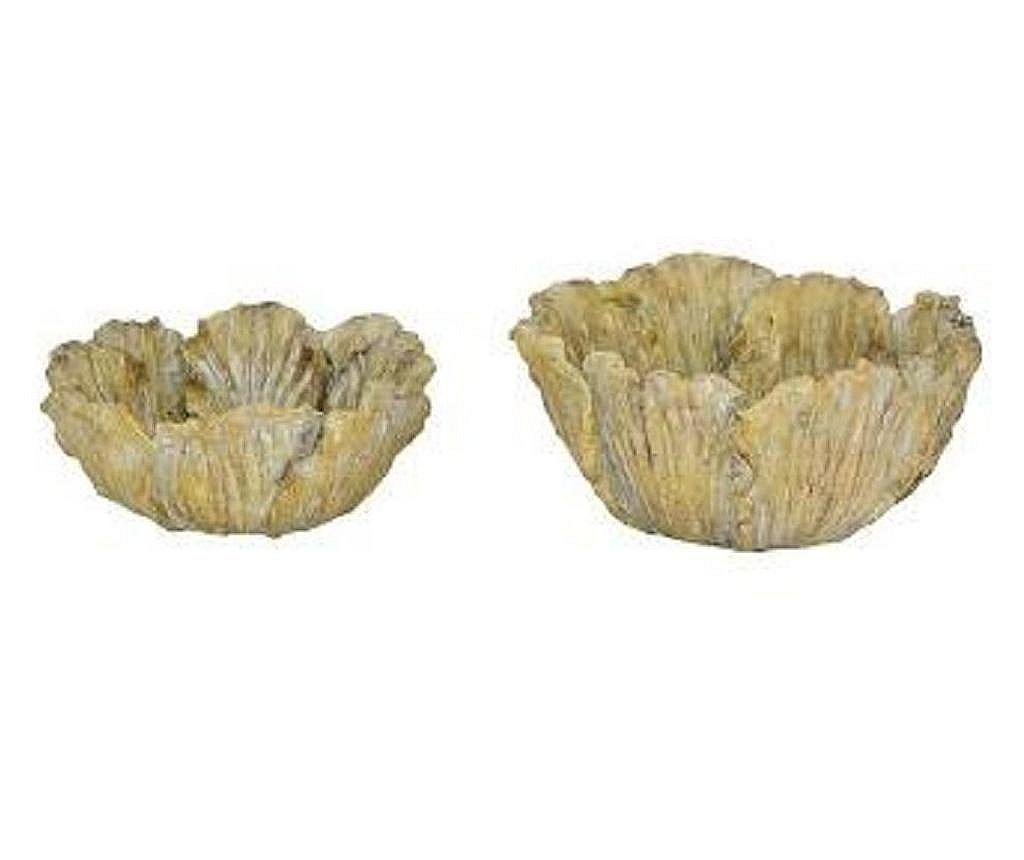 Ghiveci pentru exterior Flowerpot Valo 22x22x9 cm - Crem / Alb