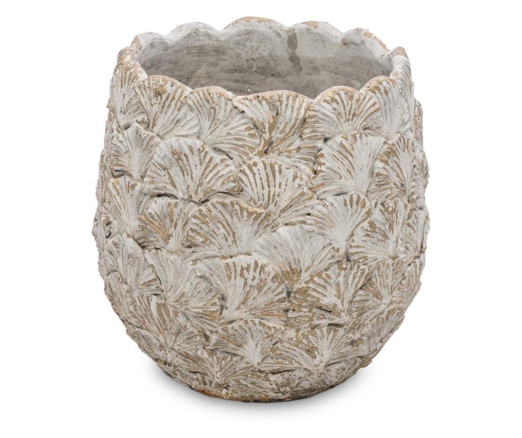 Ghiveci de piatra, model funze ginko, 20 x 19 cm