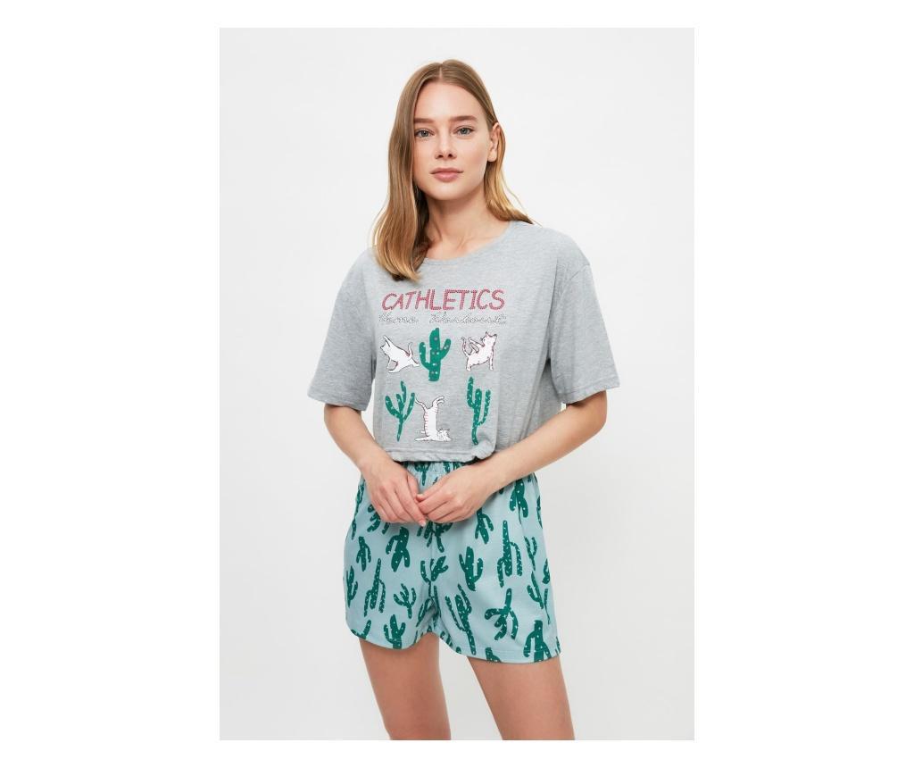 Pijama dama Cathletics M, Trendyol, bumbac, multicolora
