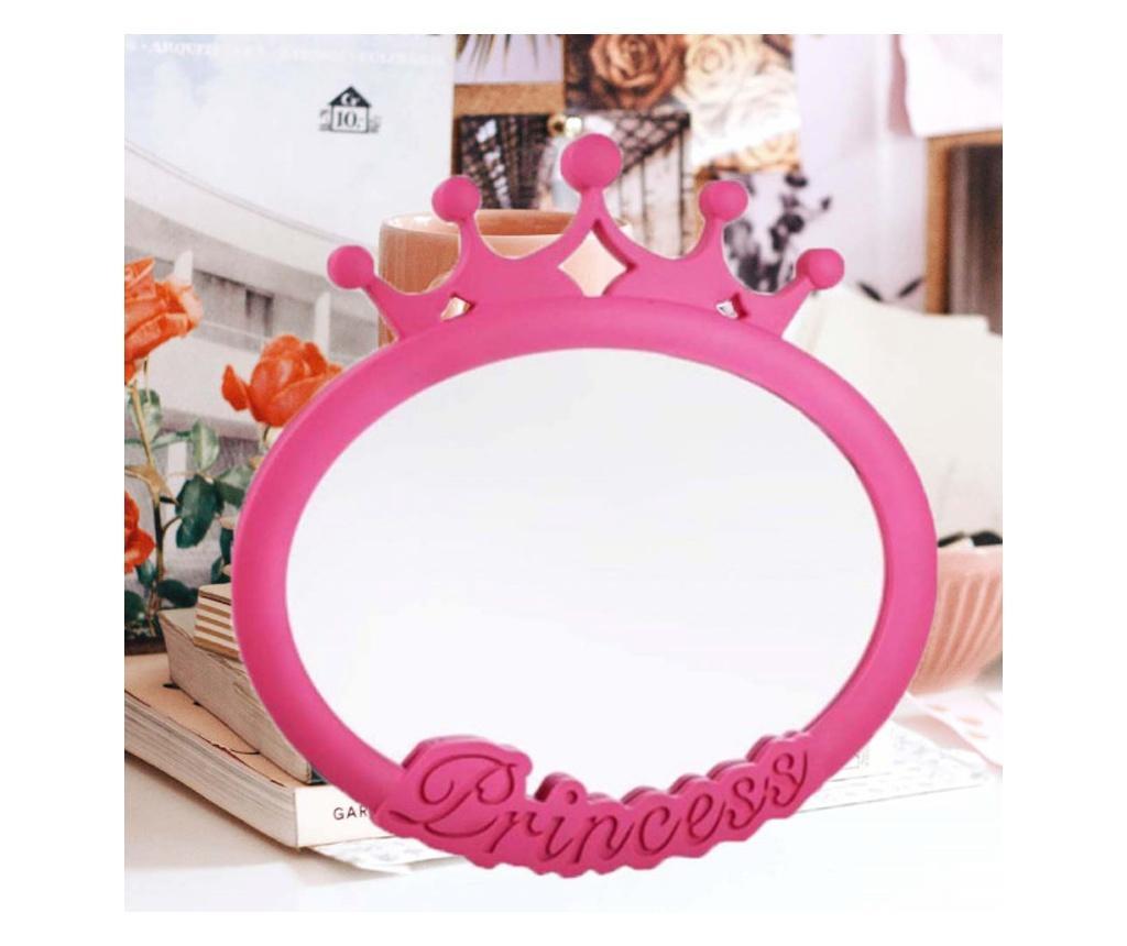 Oglinda decorativa ovala Princess pentru fetite, 25 x 25 cm, roz