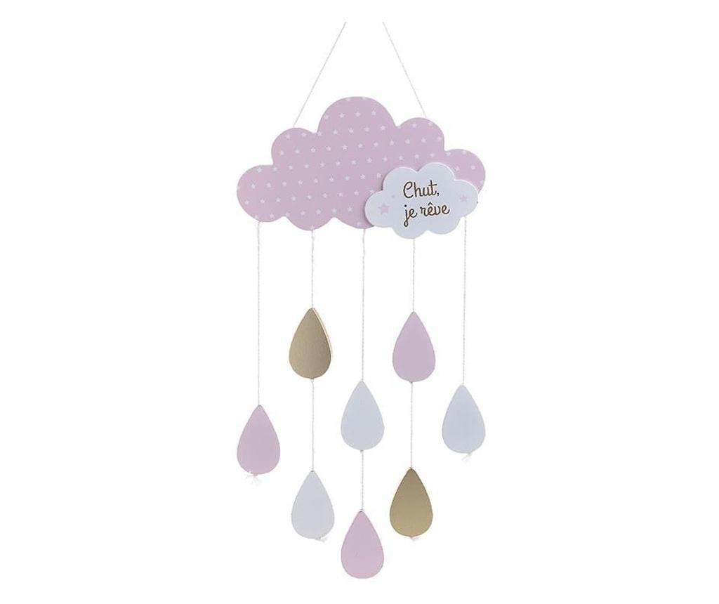 Decoratiune de perete pentru copii, norisor, roz/auriu, 24x57 cm