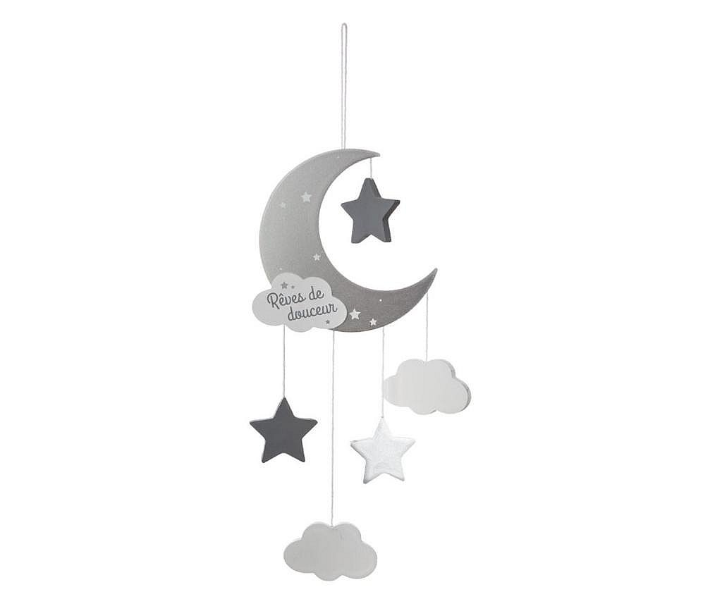 Decoratiune de perete pentru copii, luna, argintiu, 15x44 cm